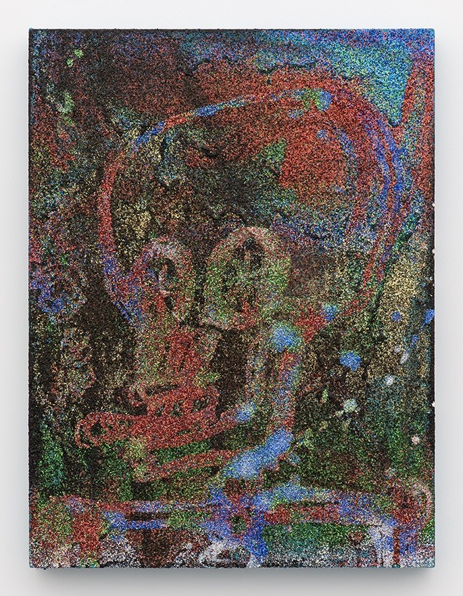Chris Martin Smoker, 2015 Acrylic, Oil and Glitter on Canvas 61 x 45.7 cm