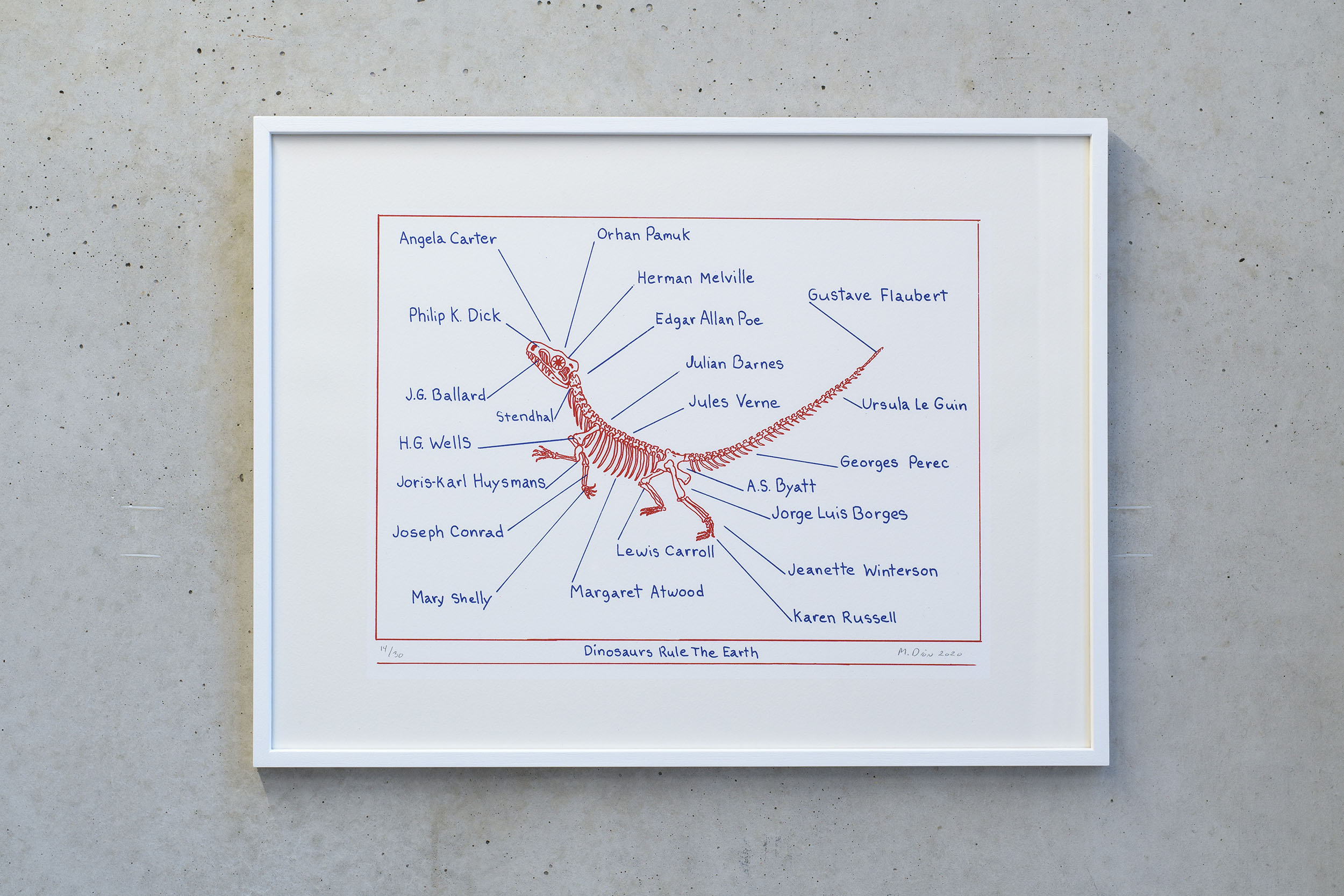 Mark Dion, Dinosaures Rule The Earth, 2020, red and blue pencil on paper, 52 x 39 cm, Edition of 30