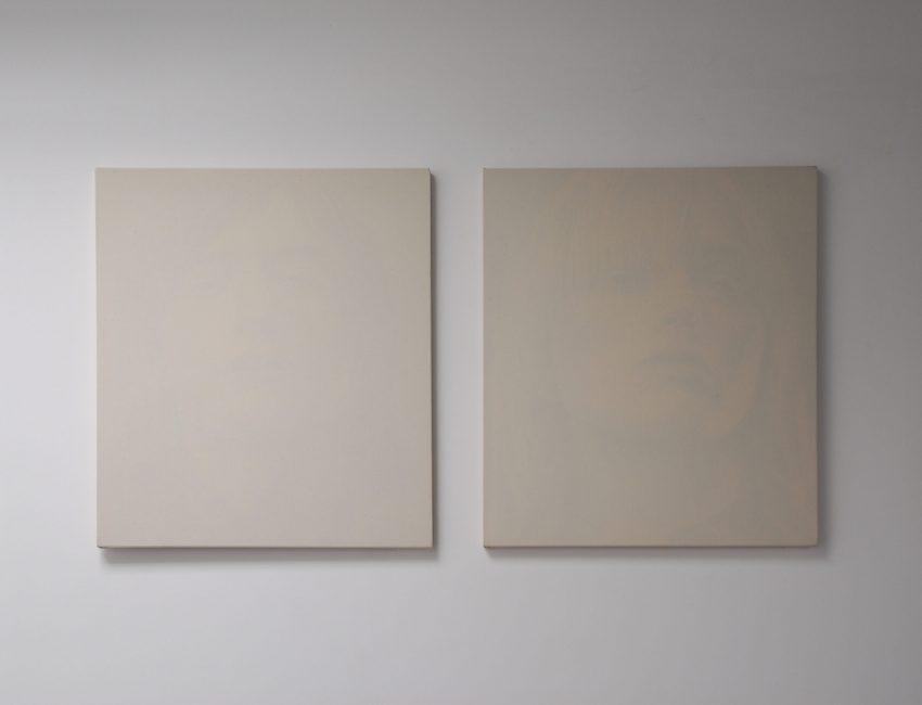 Peter Scott, Untitled (Model #2), 2008, acrylic on reverse of cotton, 66 x 56 cm – Untitled (Model #3), 2008, acrylic on reverse of cotton, 66 x 56 cm
